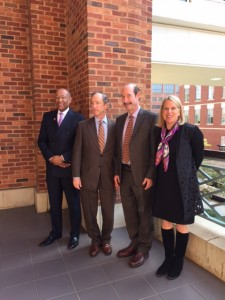 25th Anniversary Symposium – Beirne B. Carter Center for Immunology Research. From Left to Right: Dean of the University of Virginia School of Medicine Dr. David S. Wilkes, Executive Vice President for University Health Affairs Dr. David Shannon, Director of the Beirne B. Carter Center Dr. Victor Engelhard, and President of the Beirne Carter Foundation Rossie Hutcheson